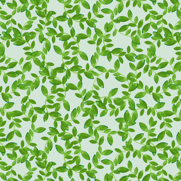 Citrus Leaves in Green - Cotton Fabric By The Yard