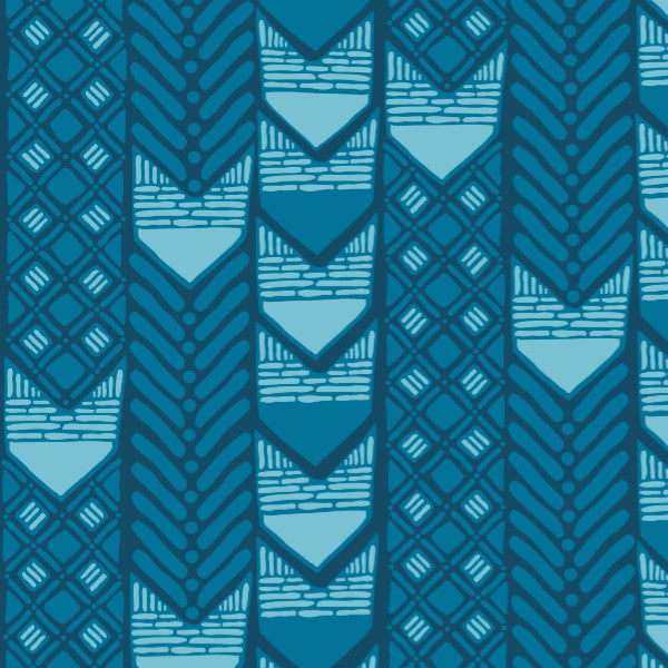 Adires in Blue - Cotton Fabric By The Yard