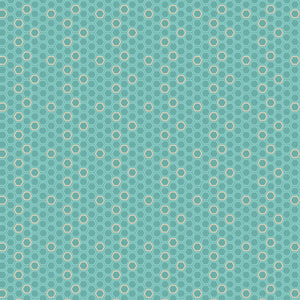 Partygon in Shindig Teal and Tan - Cotton Fabric By The Yard