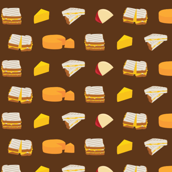 Cheesy Sandwich in Brown - Cotton Fabric By The Yard
