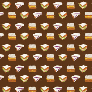 Sandwiches Sandwiches in Brown - Cotton Fabric By The Yard