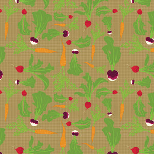 Root Vegetables in Brown - Cotton Fabric By The Yard