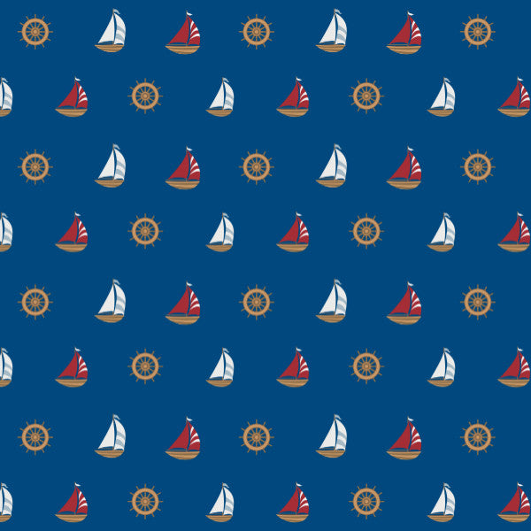 Sailing Ships in Blue - Cotton Fabric By The Yard