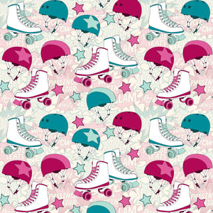 Roller Derby Rumble in Pink - Cotton Fabric By The Yard