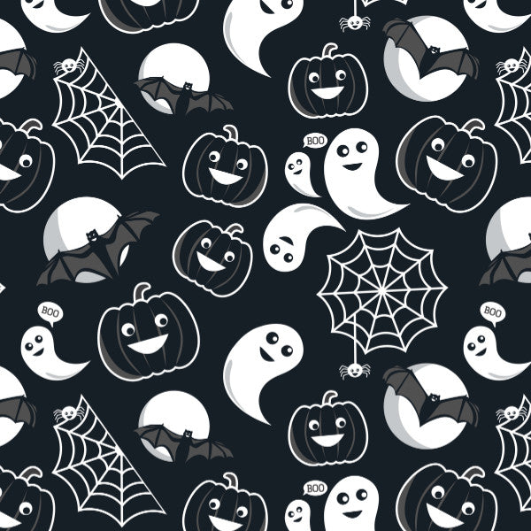 All Hallows' Eve in Grey - Cotton Fabric By The Yard