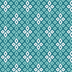 Bog Stars in Teal - Cotton Fabric By The Yard