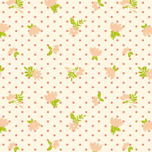 Retro Floral Polka Dots in Blush - Cotton Fabric By The Yard