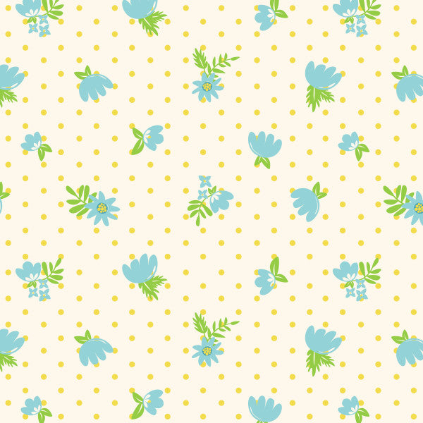 Retro Floral Polka Dots in Dusty Blue - Cotton Fabric By The Yard