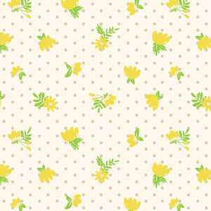 Retro Floral Polka Dots in Golden - Cotton Fabric By The Yard