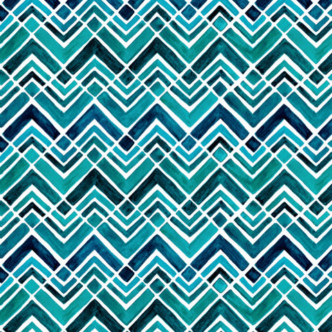 Arrowhead Chevrons in Blue - Cotton Fabric By The Yard