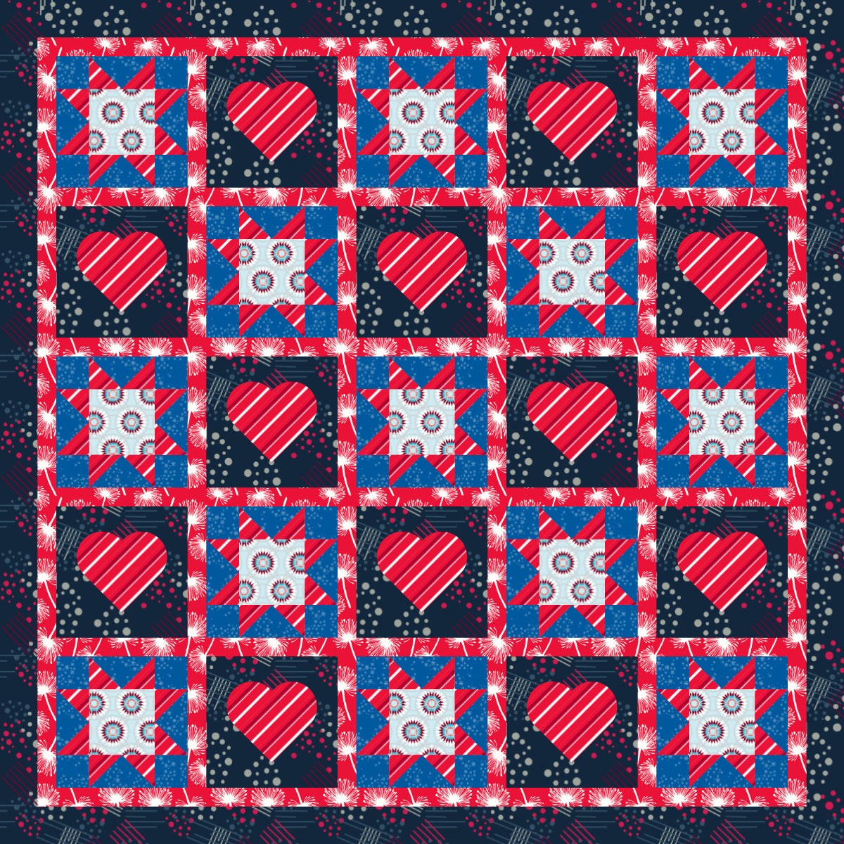 4th of July - 45 x 45 Ready-To-Quilt Fabric Panel