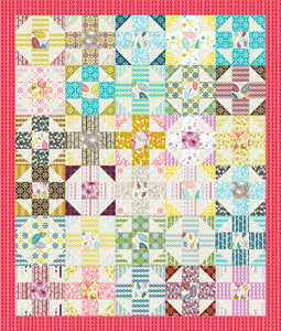 "Sew Chic ""Willowy"" Scrappy 9-patch - 56 x 66 Ready-To-Quilt Fabric Panel"