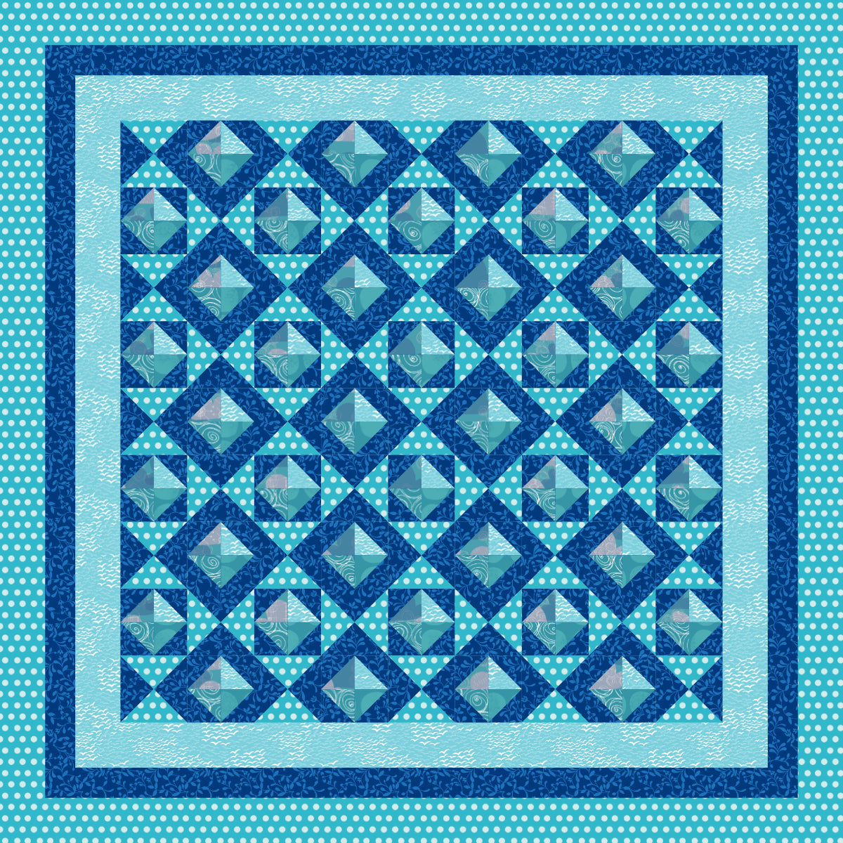Ocean polka waves - 56 x 56 Ready-To-Quilt Fabric Panel