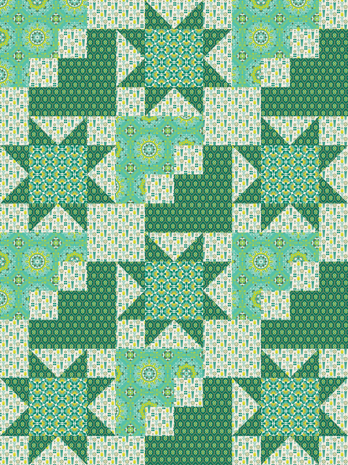 Green - 56 x 75 Ready-To-Quilt Fabric Panel