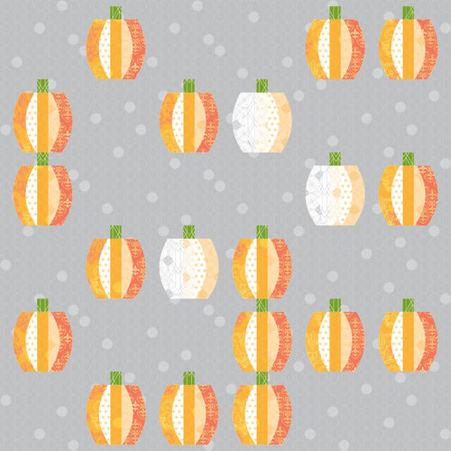 Pumpkins Ready to Quilt Fabric Panel in Orange and Gray