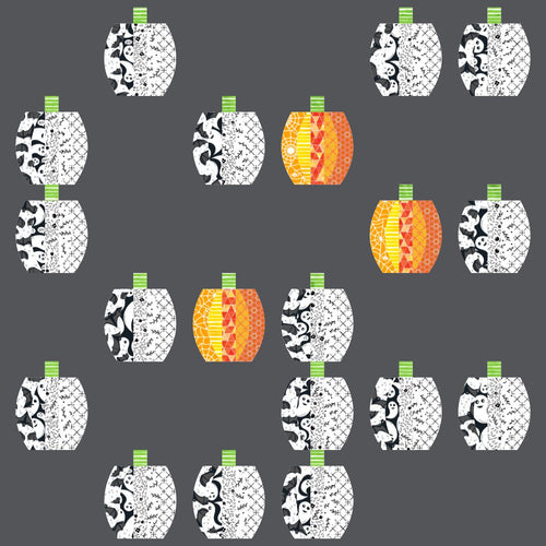 Pumpkins Ready to Quilt Fabric Panel in White and Gray