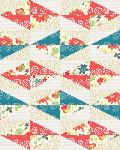 Modern Diamond Picnic Ready to Quilt Fabric Panel in Multicolor