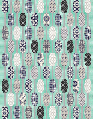 Urban Abacus Ready to Quilt Fabric Panel in Gray and Teal