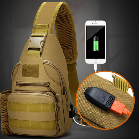 USB Charge Outdoor Military Tactical Bag - Anti Theft Bag