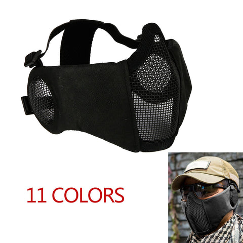 Airsoft Half Face Mesh Mask With Ear Protection Tactical Mask