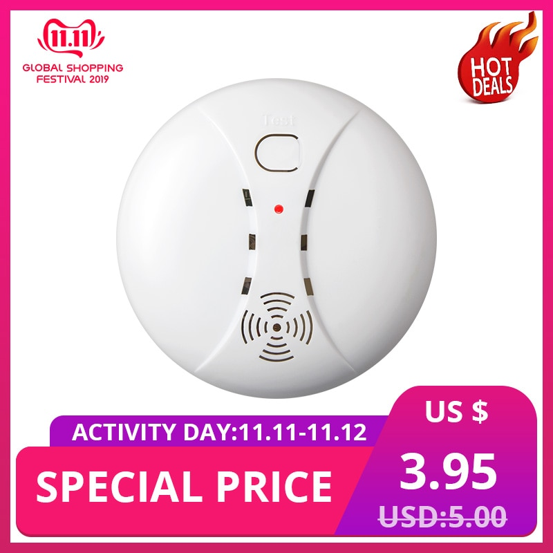 Home Security Smart Wireless Independent High Sensitive Smoke Fire ASK Alarm Sensor Detectors