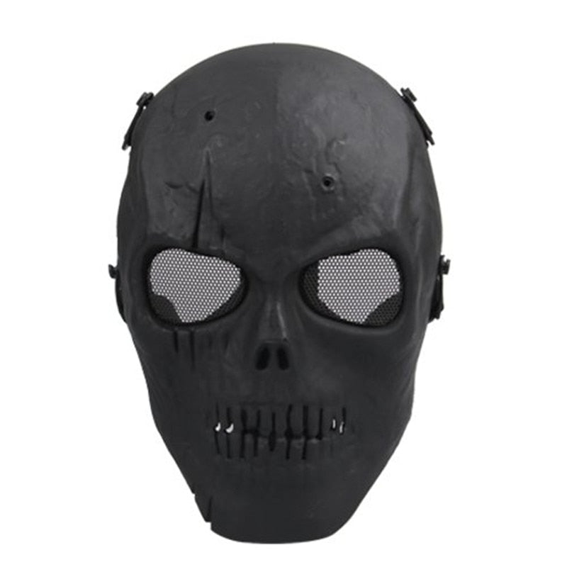 Airsoft Mask Skull Full Protective Mask Military - Black