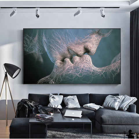 Modern Sweet Kiss Abstract Wall Art Canvas Prints