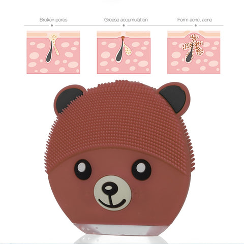 Cartoon Bear Electronic Silicone Facial Cleaning Brush
