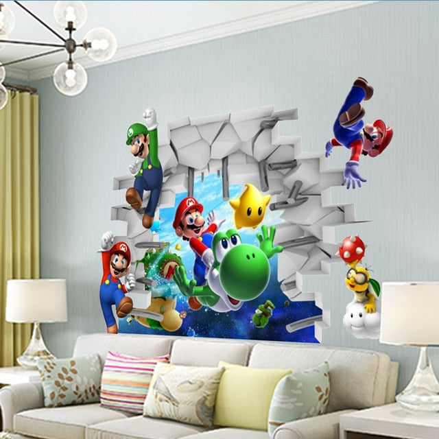 Super Mario Wall Stickers - Cartoon Game Fans Wall Decals