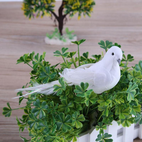 White Doves Feather Artificial Bird Decor