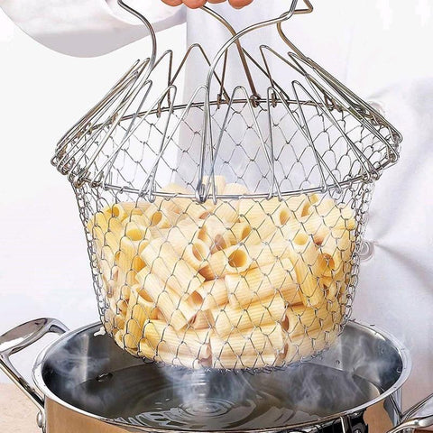 Steam Rinse Strainer Stainless Steel Folding Frying Basket Colander