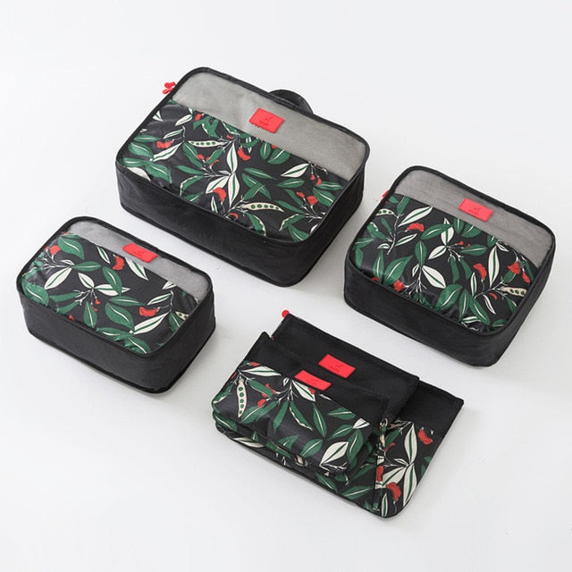 6pcs Floral Pattern Travel Storage Bag Travel Suitcase Organizer
