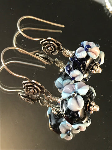 Lampwork flower earrings