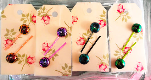 Fused Dichroic Glass Hair Pins