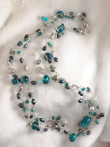 Triple Strand Wire Crochet Teal Necklace with Lampwork Beads, Crystals, Pearls, Sterling Silver