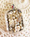 Mother of Pearl and Resin Pendant with Hearts and Crystals