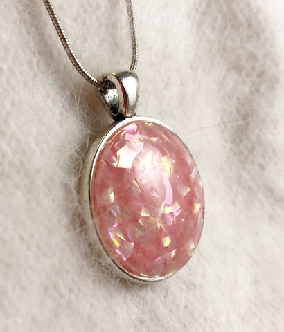 Vintage Upcycle Pink Glitter Pendant