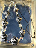 Black and White Lampwork Bead Necklace