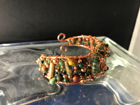 Copper Bracelet with Unakite