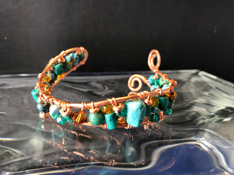 Copper Bracelet with Turquoise and Swarovski Crystals