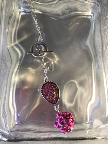 Pink Roses Bead Pendant with Druzy Quartz