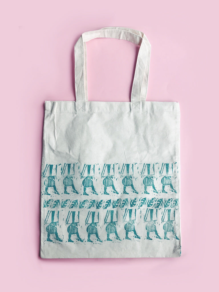 60s Girl Tote - Pattern 1 - Block Printed