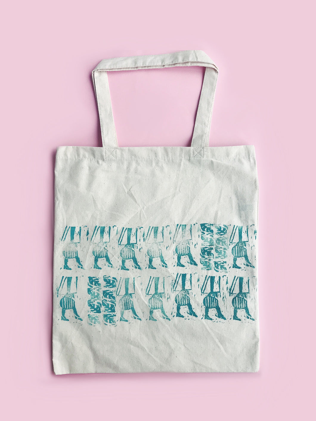 60s Girl Tote - Pattern 3 - Block Printed