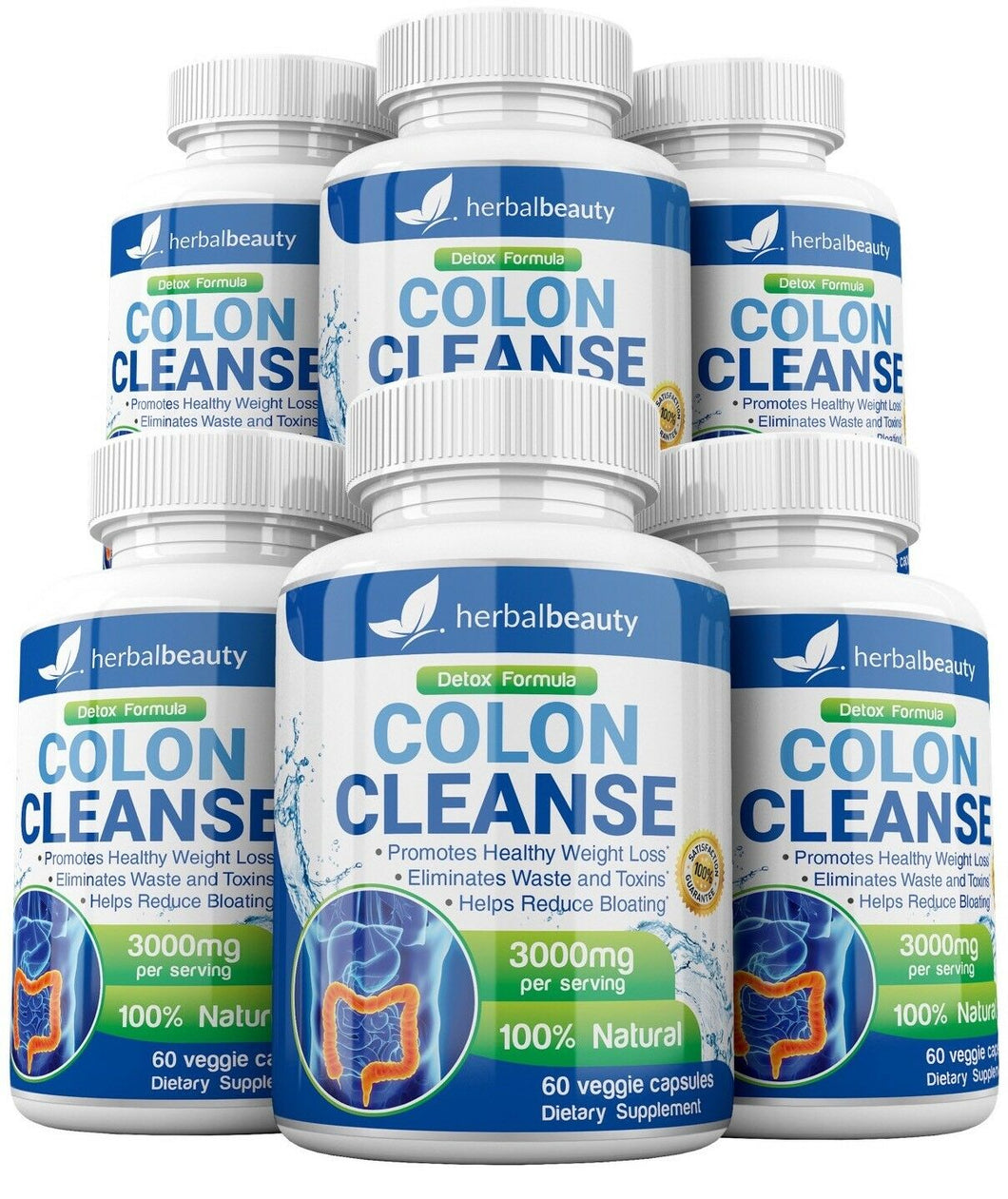 6 Bottles Colon Cleanse Detox Formula