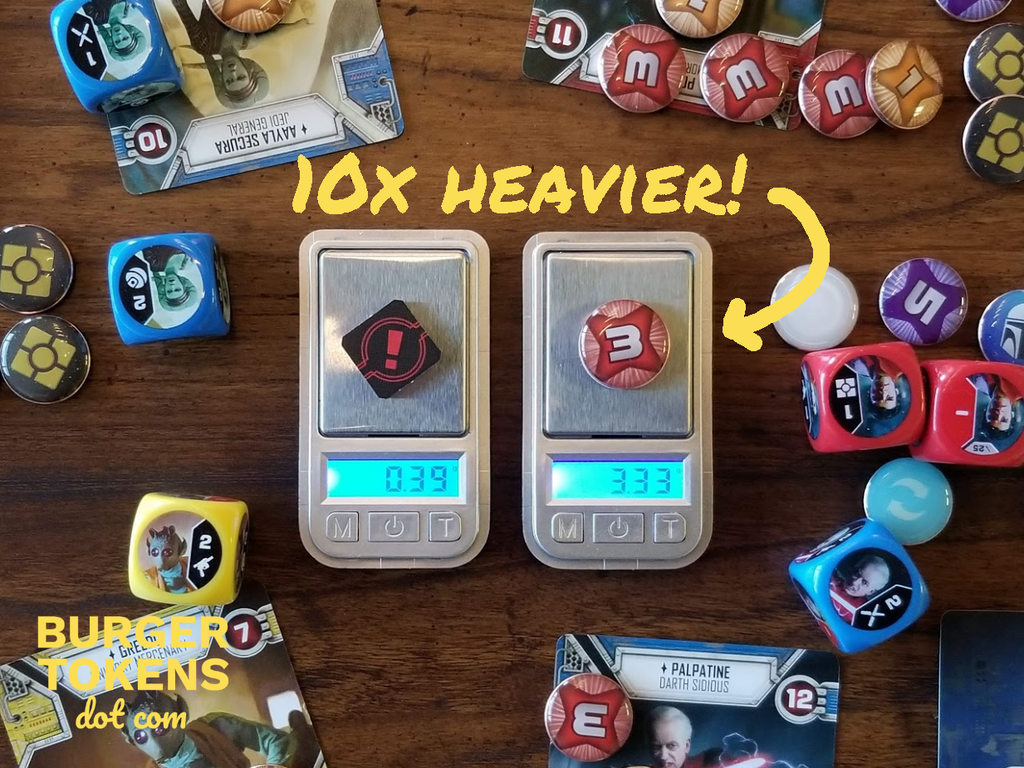 weight comparison with cardboard tokens