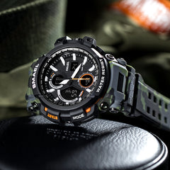 Military Watch Men Waterproof Dual Time Display