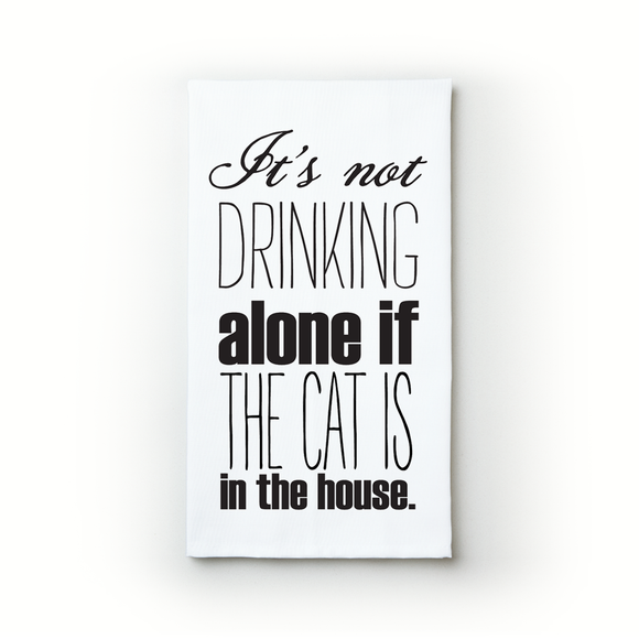 Drinking Alone - Cat - Teatowels.ca