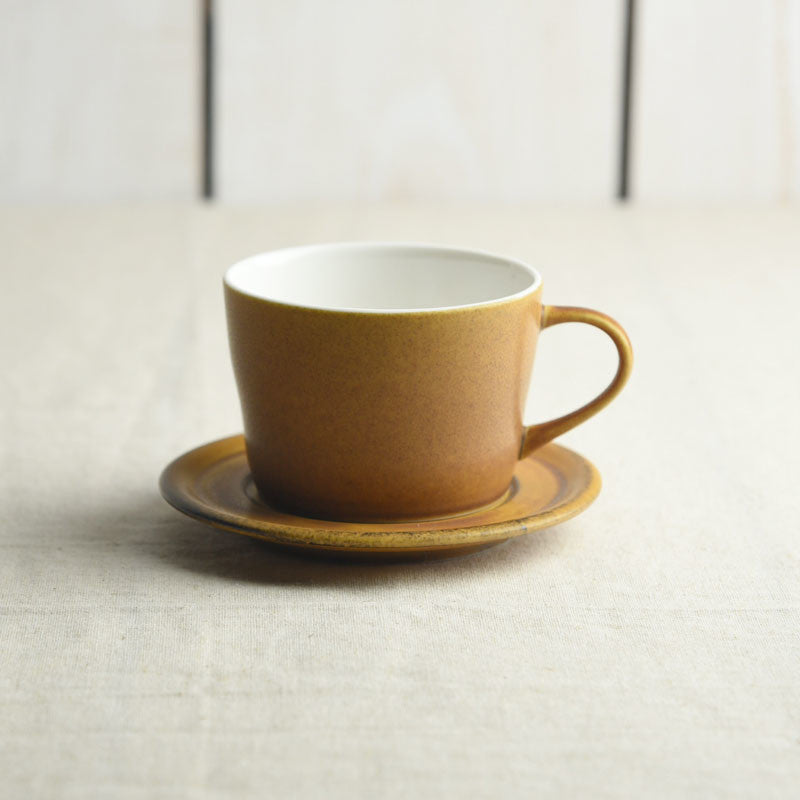 Miyama Matte Coffee Cup with Saucer in Caramel