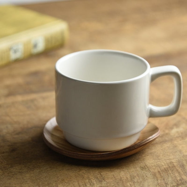 White Cup & Wood Saucer Set