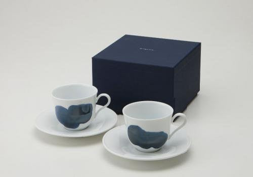 Miyama Indigo Stroke Cups and Saucers Set